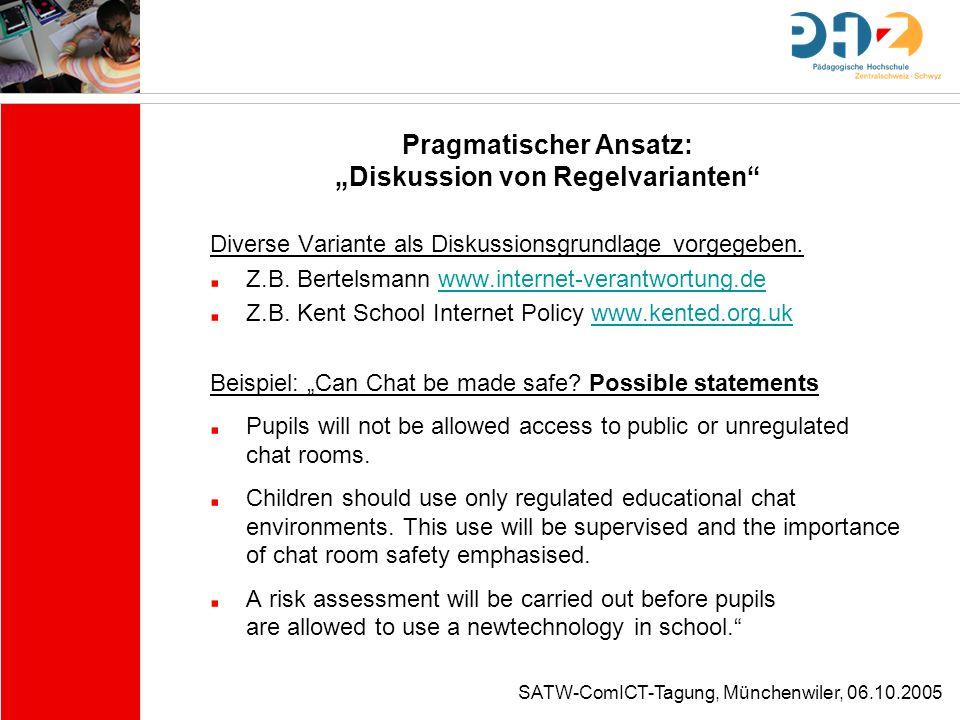 """Pragmatischer Ansatz: """"Diskussion von Regelvarianten"""