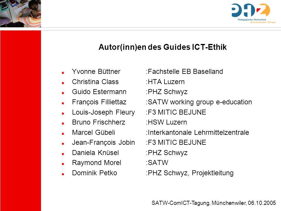 Autor(inn)en des Guides ICT-Ethik