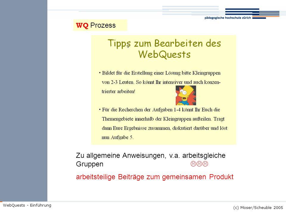 WQ Prozess Zu allgemeine Anweisungen, v.a.