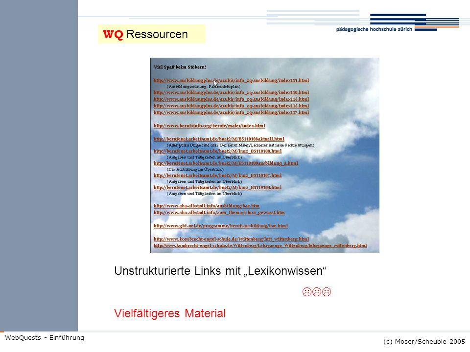 """WQ Ressourcen Unstrukturierte Links mit """"Lexikonwissen  Vielfältigeres Material"""