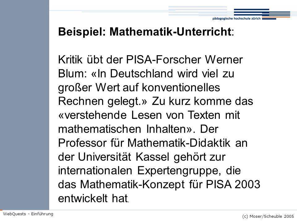Beispiel: Mathematik-Unterricht:
