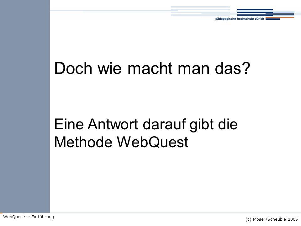 Doch wie macht man das Eine Antwort darauf gibt die Methode WebQuest