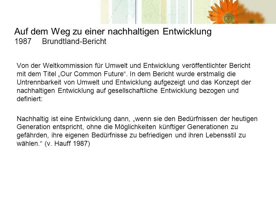 Auf dem Weg zu einer nachhaltigen Entwicklung 1987 Brundtland-Bericht