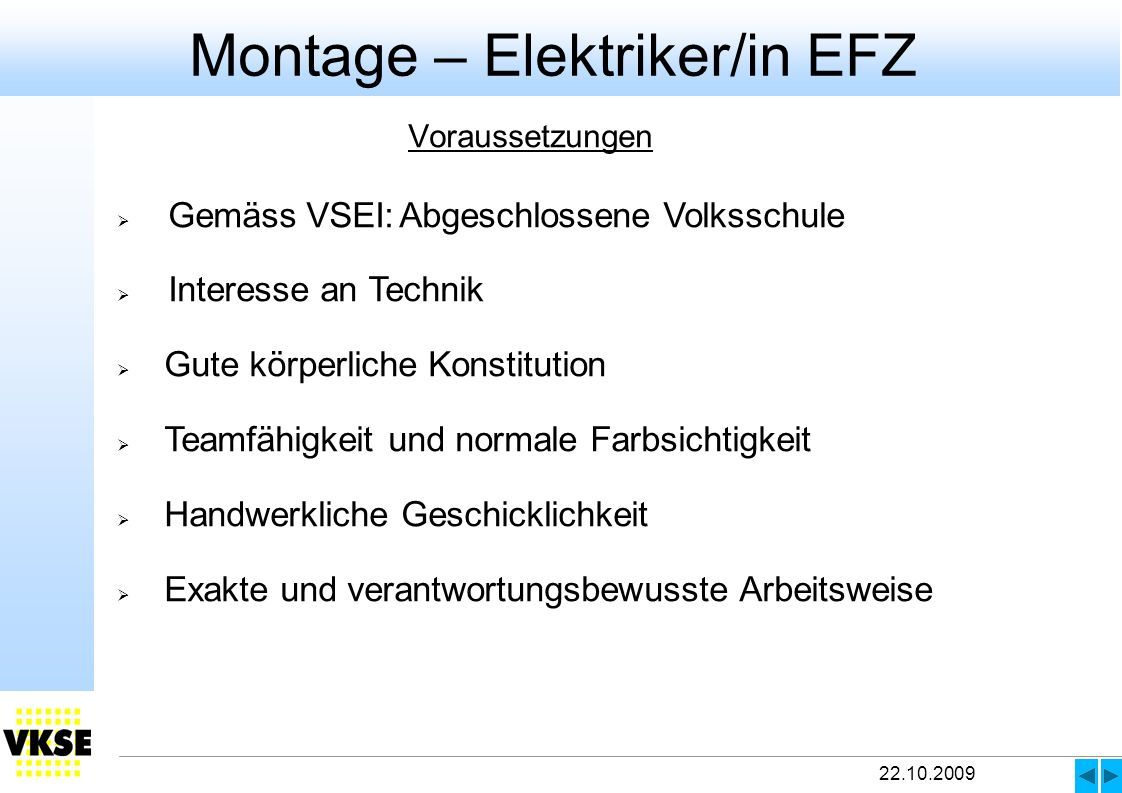 Montage – Elektriker/in EFZ