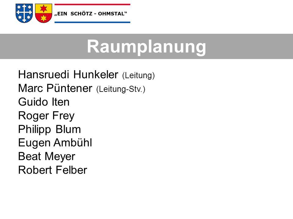 Raumplanung Hansruedi Hunkeler (Leitung) Marc Püntener (Leitung-Stv.)