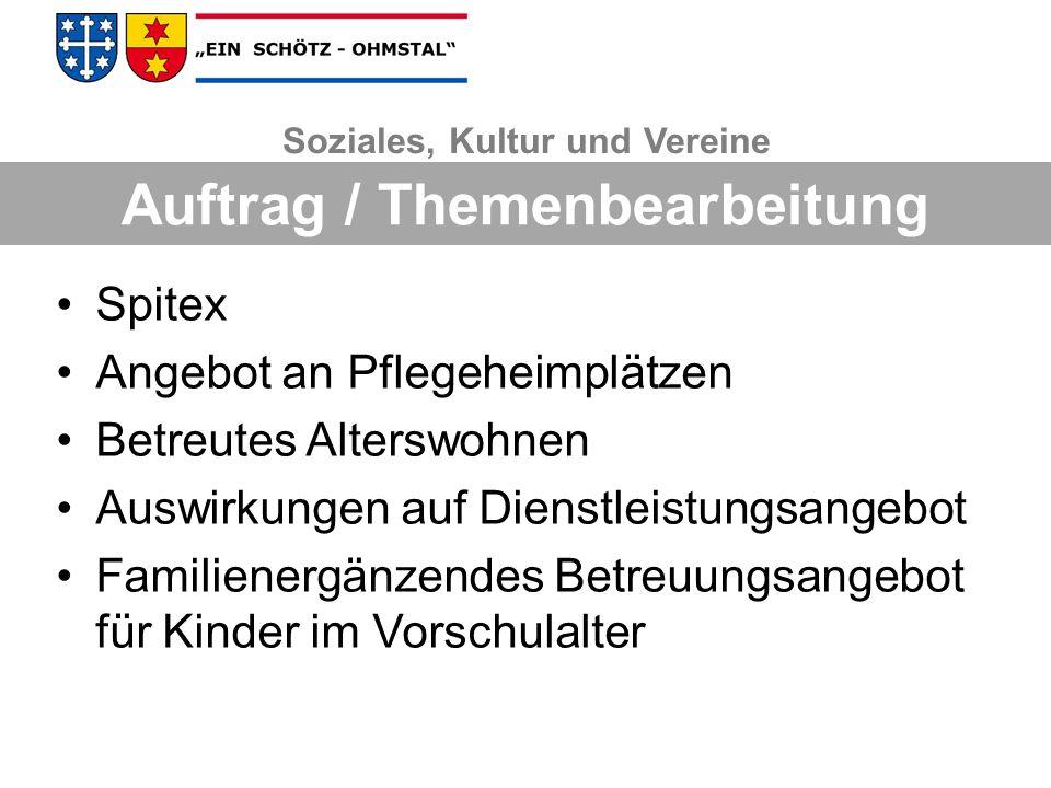 Soziales, Kultur und Vereine Auftrag / Themenbearbeitung