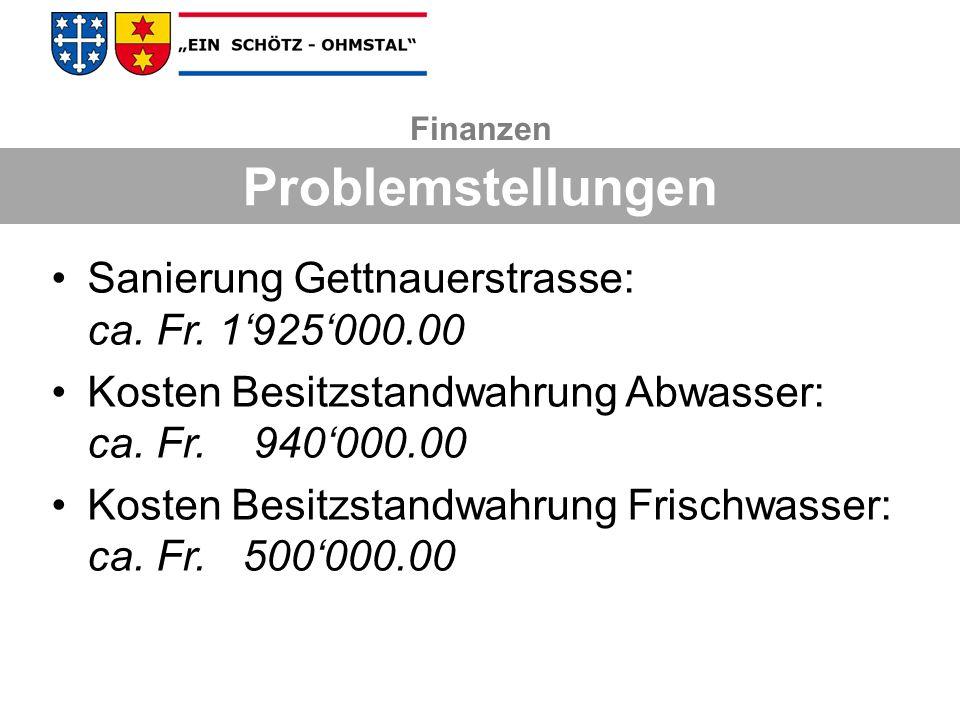 Problemstellungen Sanierung Gettnauerstrasse: ca. Fr. 1'925'000.00