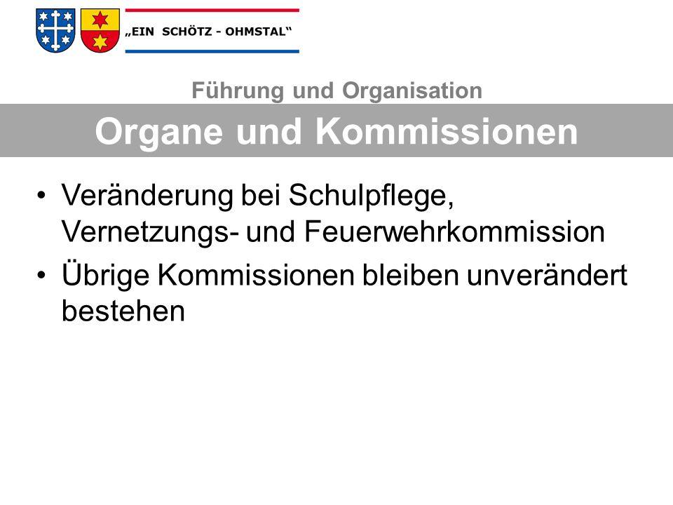 Führung und Organisation Organe und Kommissionen