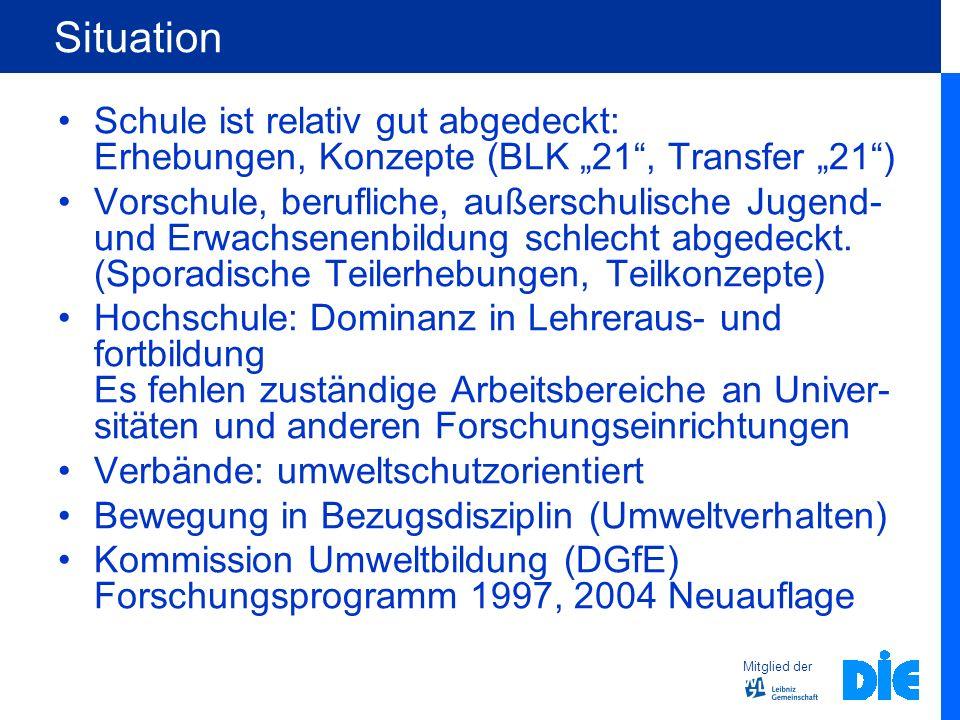"""Situation Schule ist relativ gut abgedeckt: Erhebungen, Konzepte (BLK """"21 , Transfer """"21 )"""