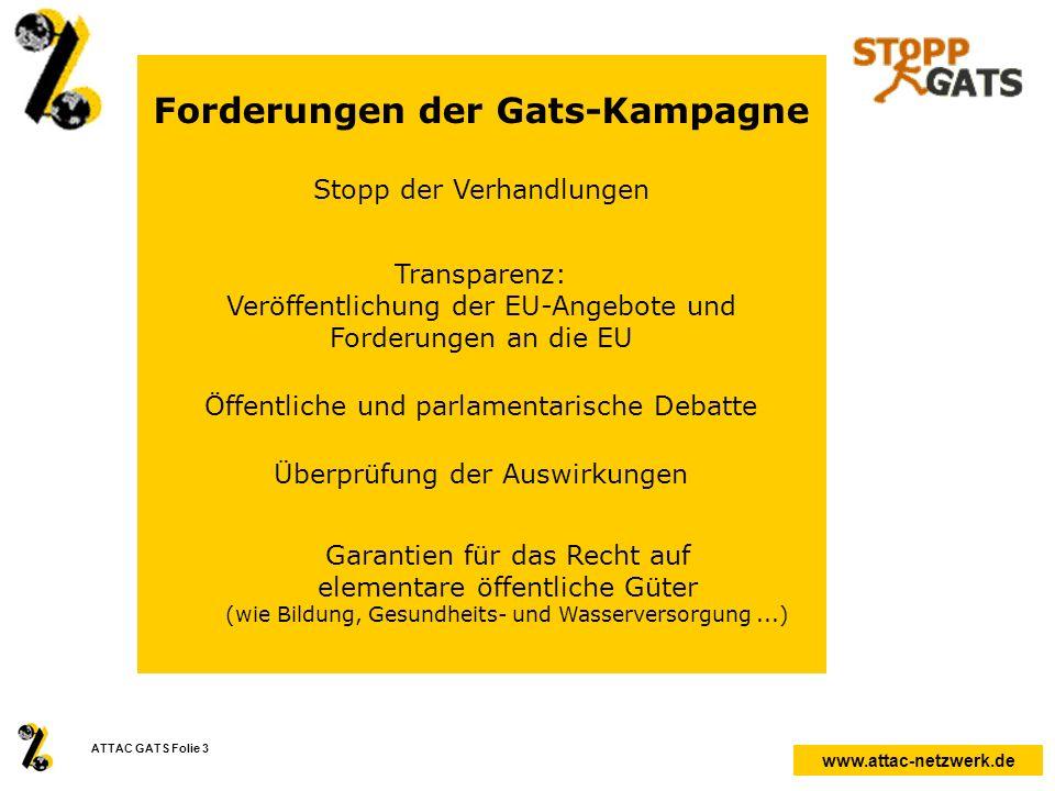 Forderungen der Gats-Kampagne