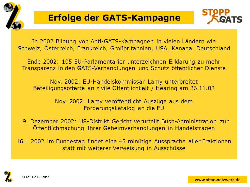 Erfolge der GATS-Kampagne