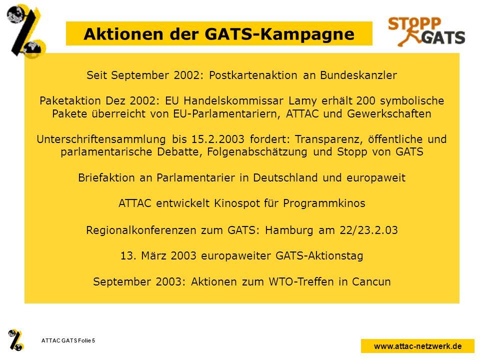 Aktionen der GATS-Kampagne
