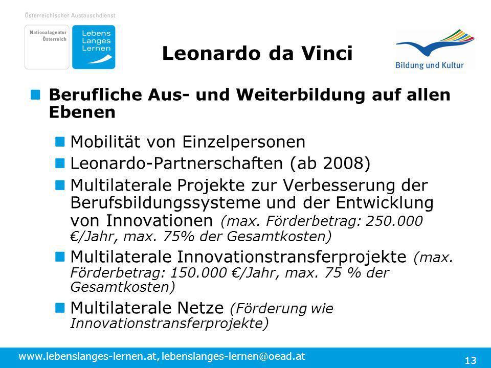 Leonardo da Vinci Berufliche Aus- und Weiterbildung auf allen Ebenen