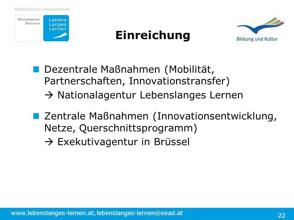 Einreichung Dezentrale Maßnahmen (Mobilität, Partnerschaften, Innovationstransfer)  Nationalagentur Lebenslanges Lernen.