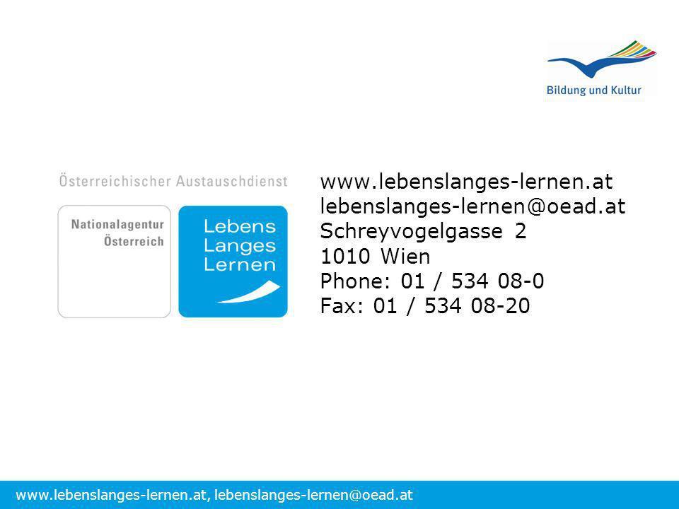 www.lebenslanges-lernen.at lebenslanges-lernen@oead.at. Schreyvogelgasse 2. 1010 Wien. Phone: 01 / 534 08-0.