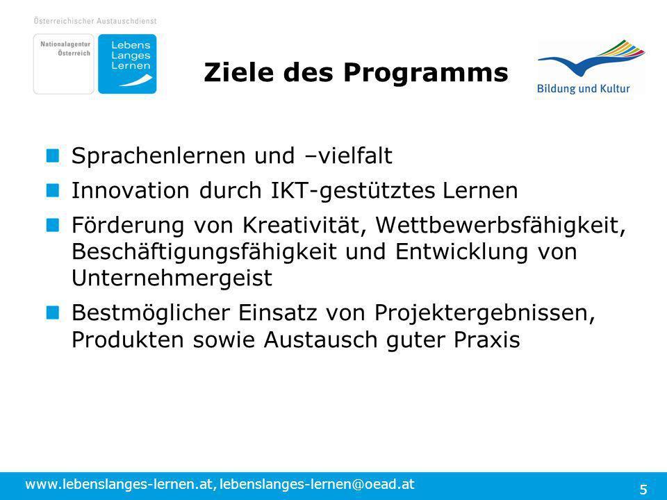 Ziele des Programms Sprachenlernen und –vielfalt