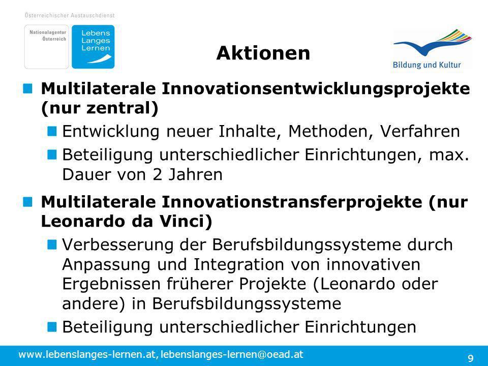 Aktionen Multilaterale Innovationsentwicklungsprojekte (nur zentral)