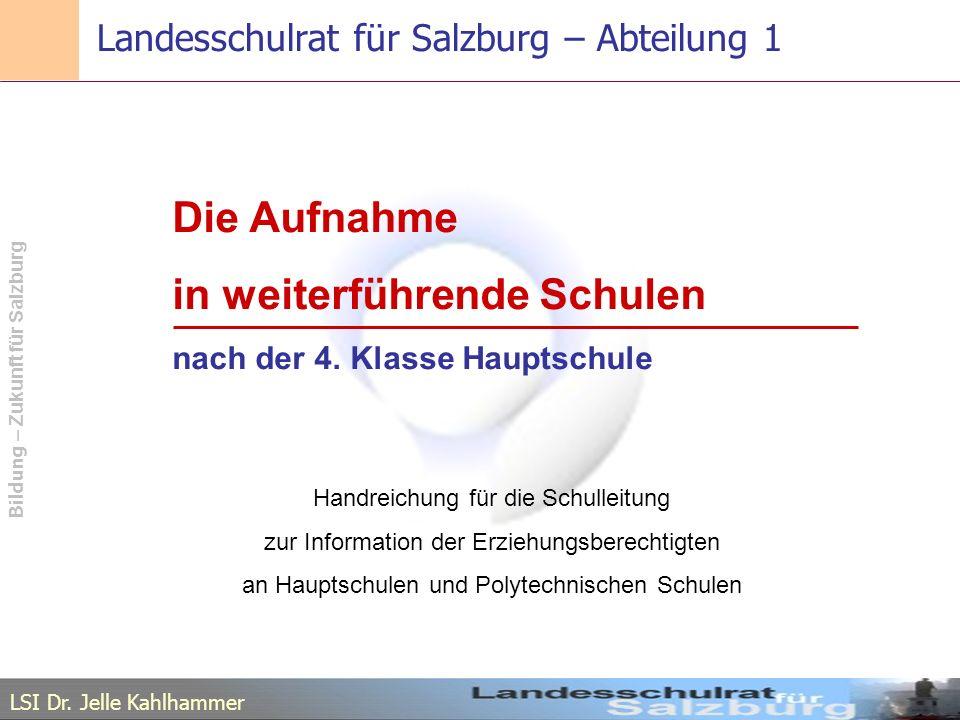 Landesschulrat für Salzburg – Abteilung 1