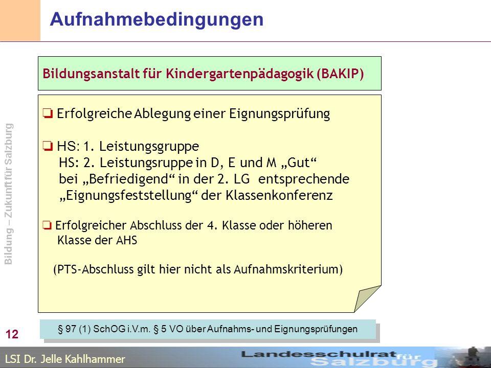 § 97 (1) SchOG i.V.m. § 5 VO über Aufnahms- und Eignungsprüfungen