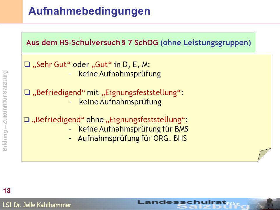 """Aufnahmebedingungen Aus dem HS-Schulversuch § 7 SchOG (ohne Leistungsgruppen) ❏ """"Sehr Gut oder """"Gut in D, E, M:"""