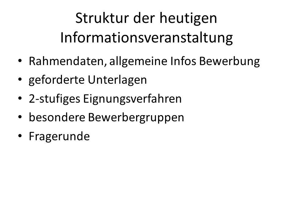 Struktur der heutigen Informationsveranstaltung