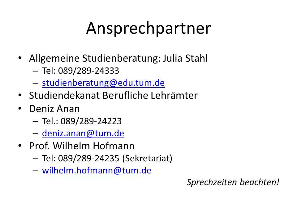 Ansprechpartner Allgemeine Studienberatung: Julia Stahl