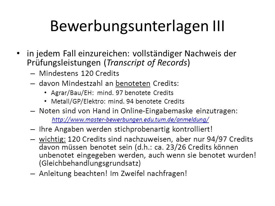 Bewerbungsunterlagen III