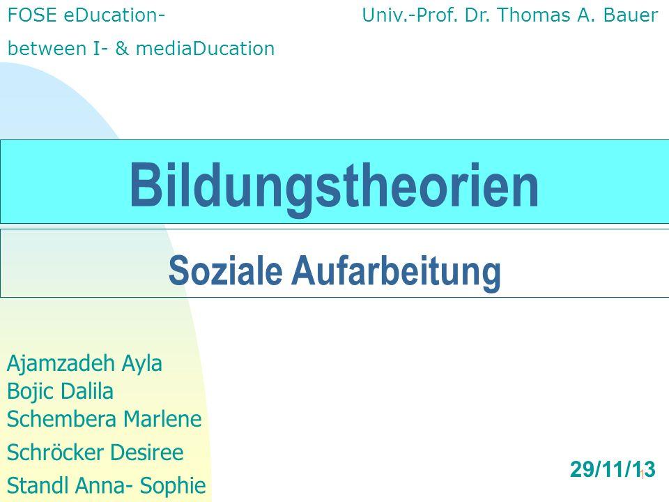 Bildungstheorien Soziale Aufarbeitung Ajamzadeh Ayla Bojic Dalila