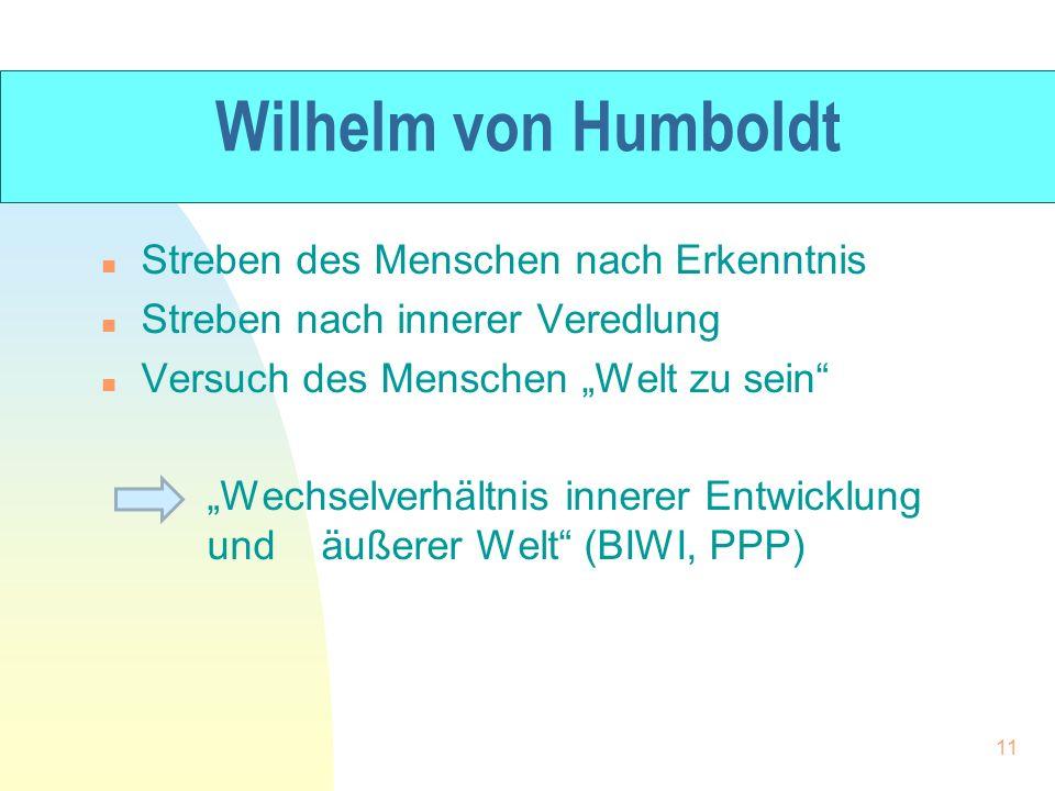 Wilhelm von Humboldt Streben des Menschen nach Erkenntnis