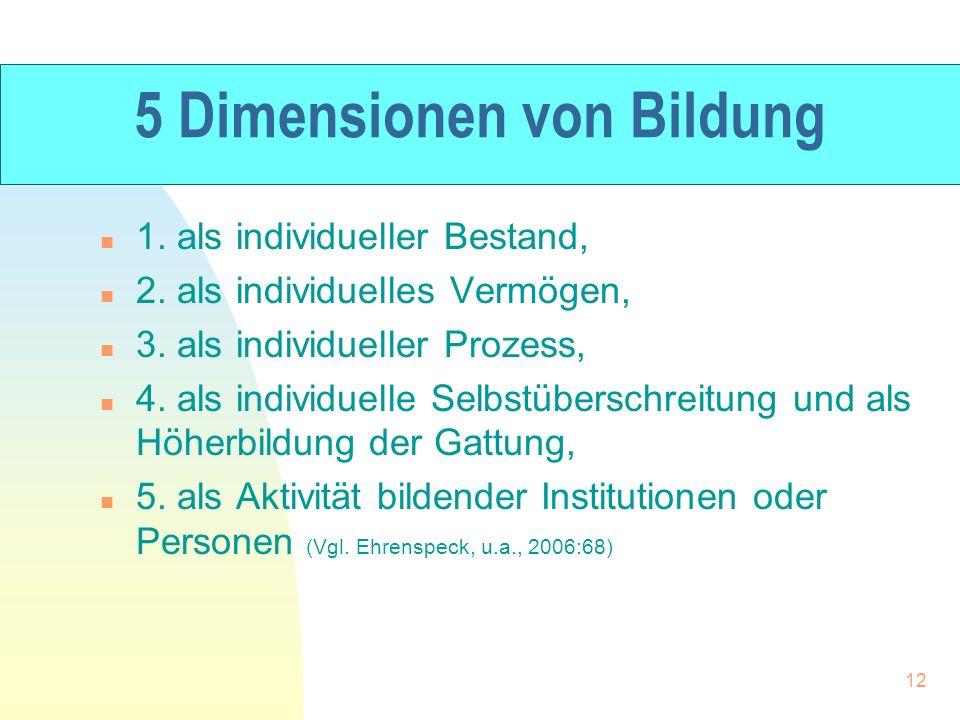 5 Dimensionen von Bildung