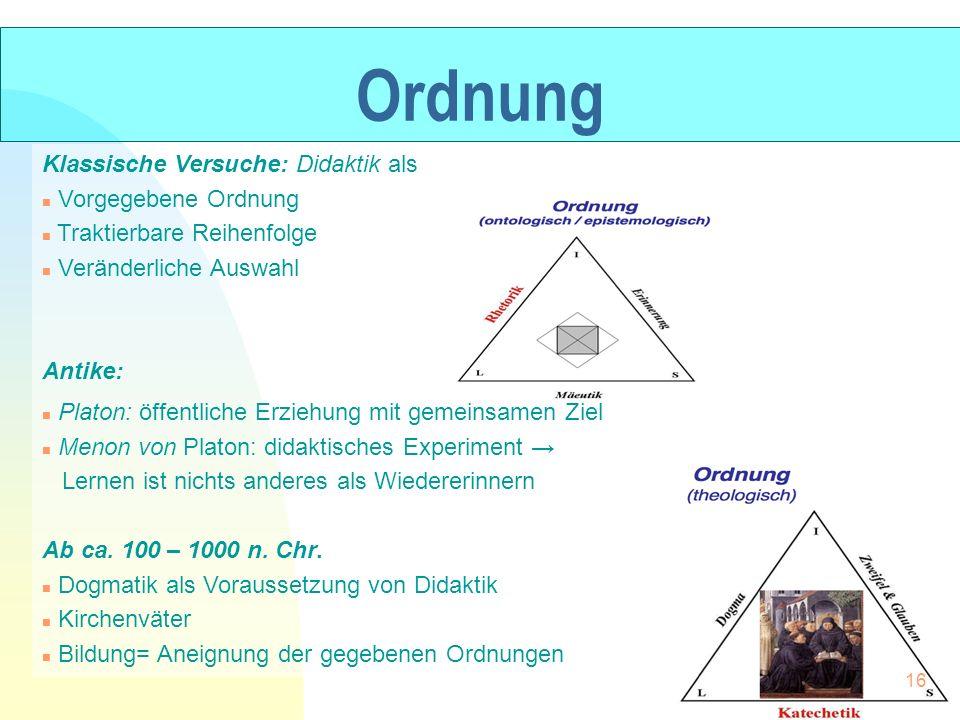 Ordnung Klassische Versuche: Didaktik als Vorgegebene Ordnung