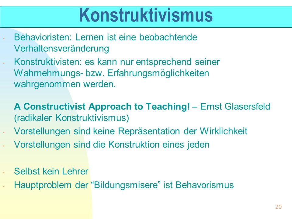 Konstruktivismus Behavioristen: Lernen ist eine beobachtende Verhaltensveränderung.