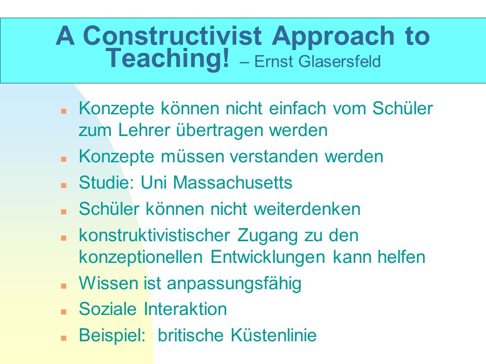 A Constructivist Approach to Teaching! – Ernst Glasersfeld