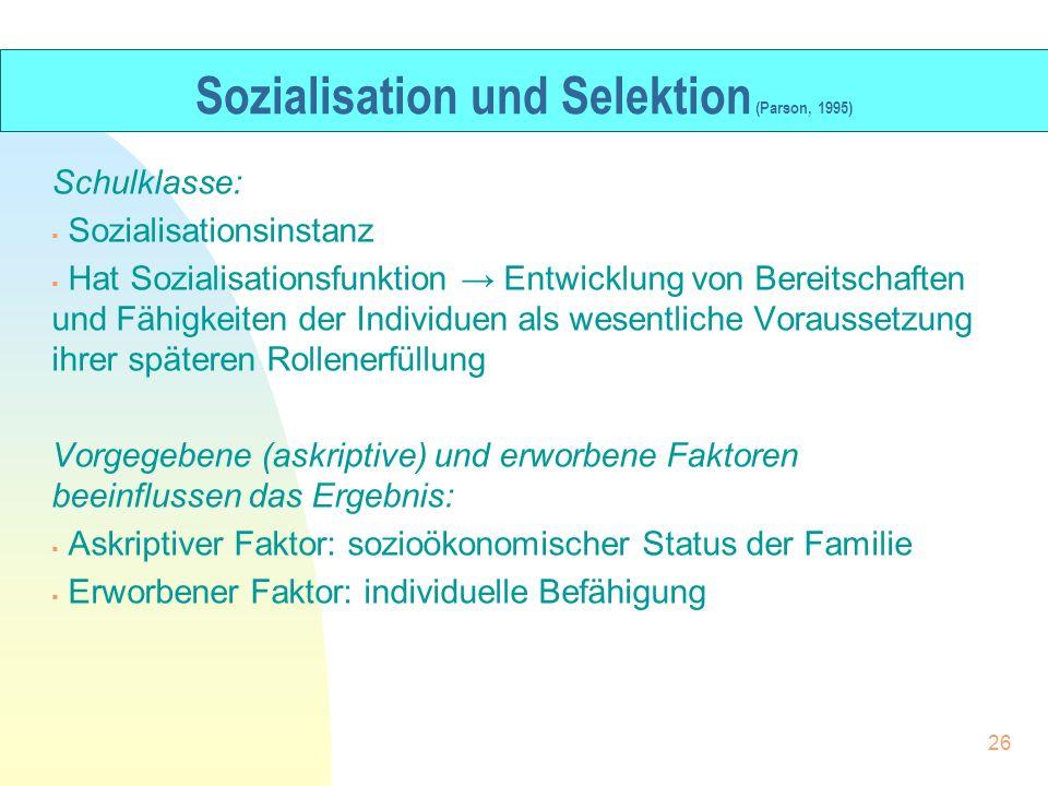 Sozialisation und Selektion (Parson, 1995)