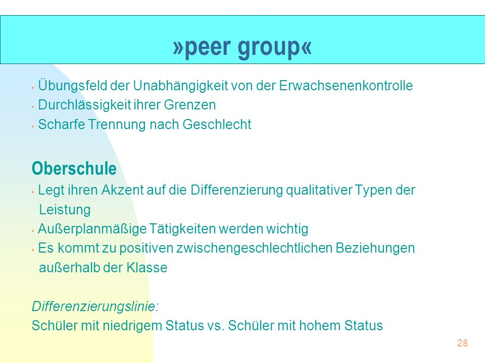 »peer group« Oberschule