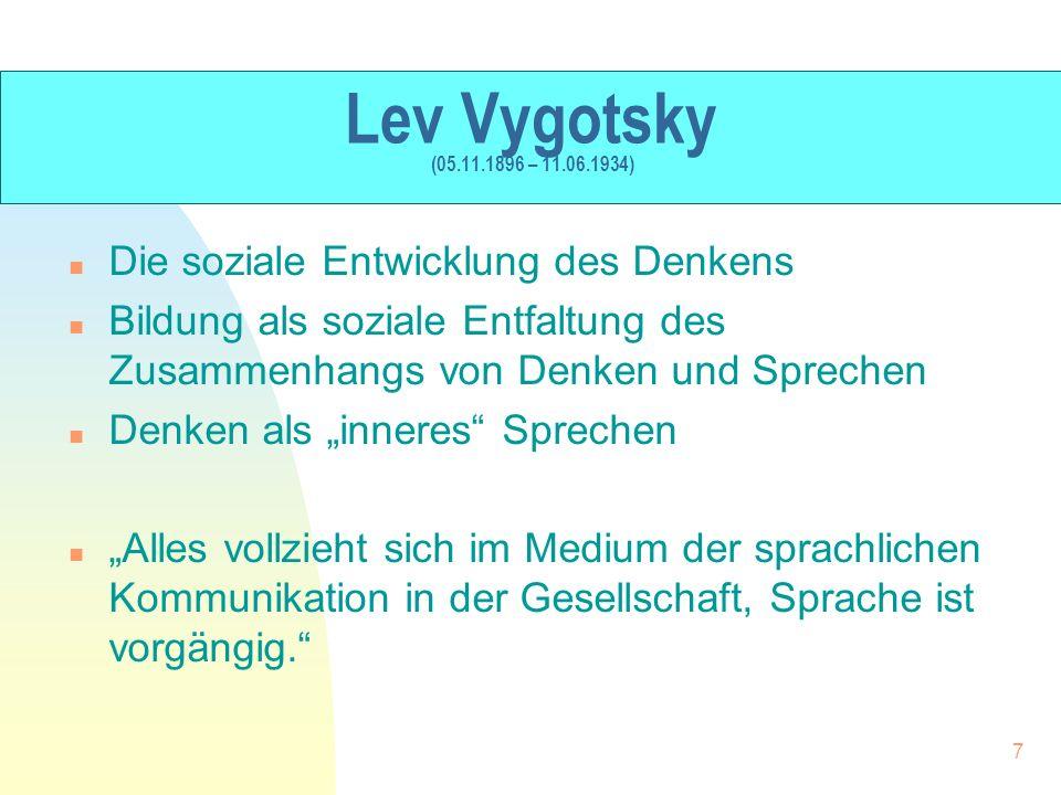 Lev Vygotsky (05.11.1896 – 11.06.1934) Die soziale Entwicklung des Denkens.