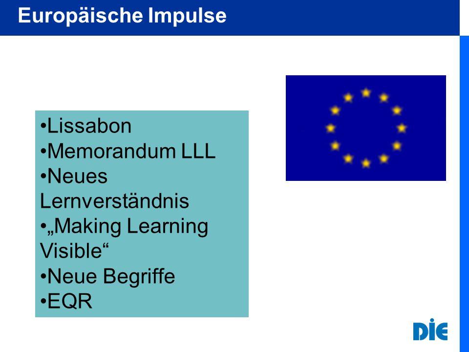 "Europäische Impulse Lissabon. Memorandum LLL. Neues Lernverständnis. ""Making Learning Visible Neue Begriffe."