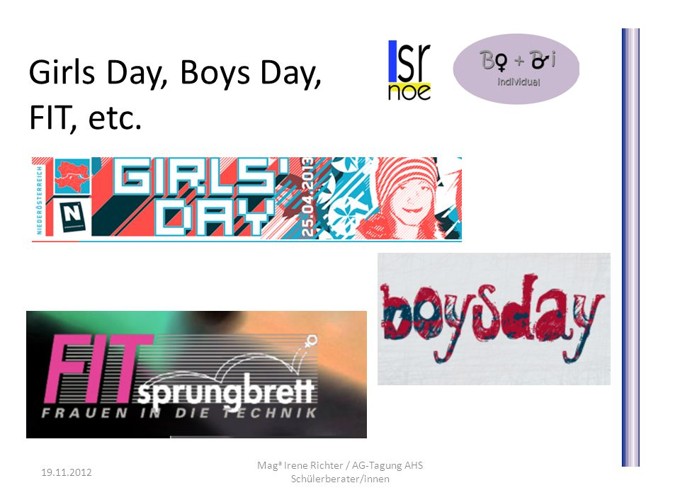 Girls Day, Boys Day, FIT, etc.