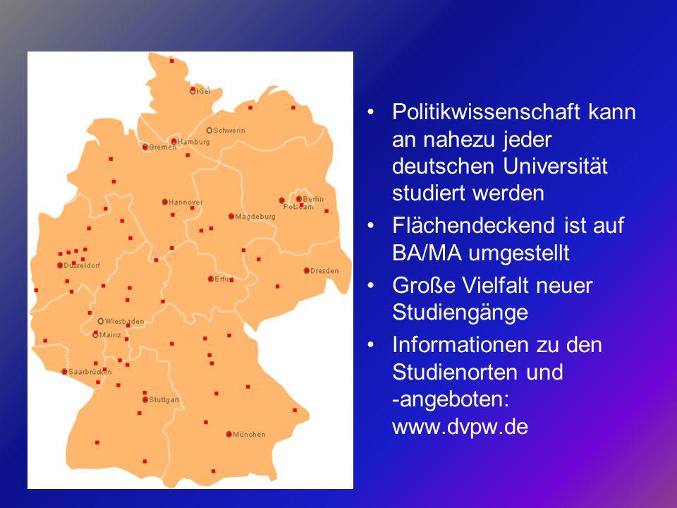 Politikwissenschaft kann an nahezu jeder deutschen Universität studiert werden