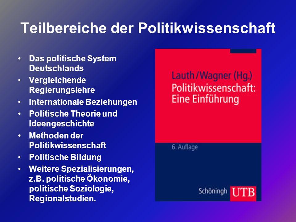 Teilbereiche der Politikwissenschaft