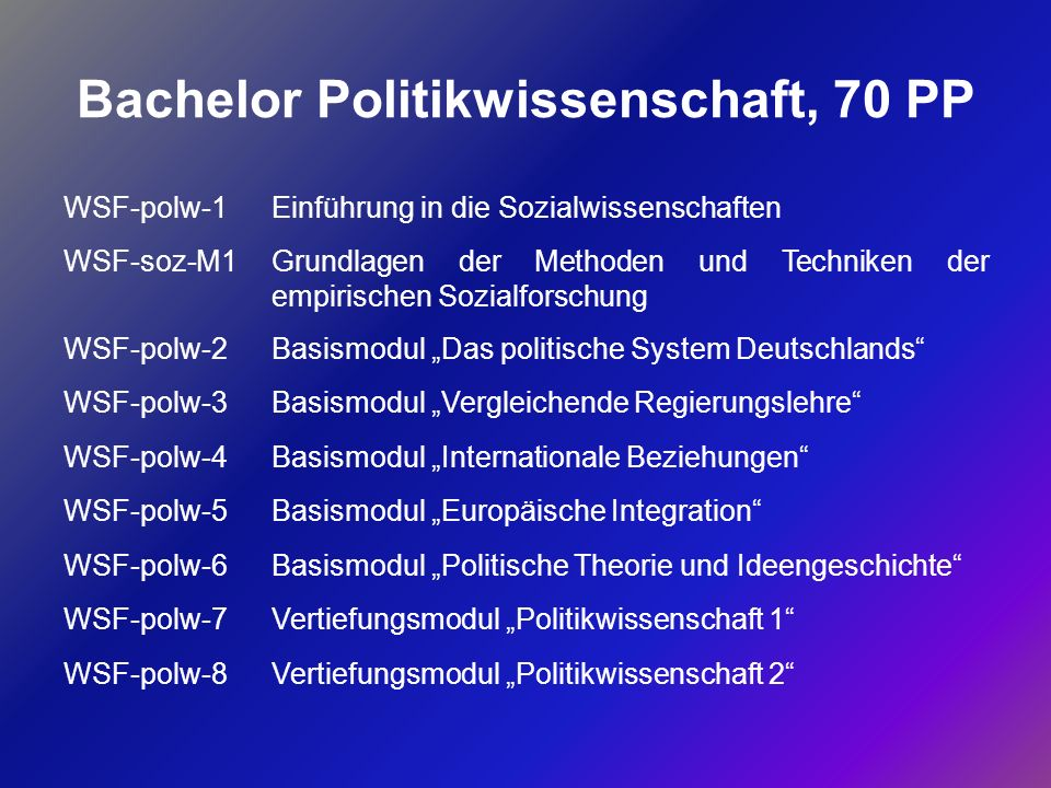 Bachelor Politikwissenschaft, 70 PP