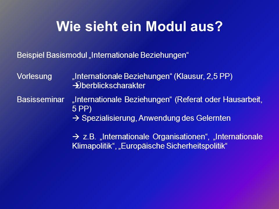 """Wie sieht ein Modul aus Beispiel Basismodul """"Internationale Beziehungen Vorlesung. """"Internationale Beziehungen (Klausur, 2,5 PP)"""