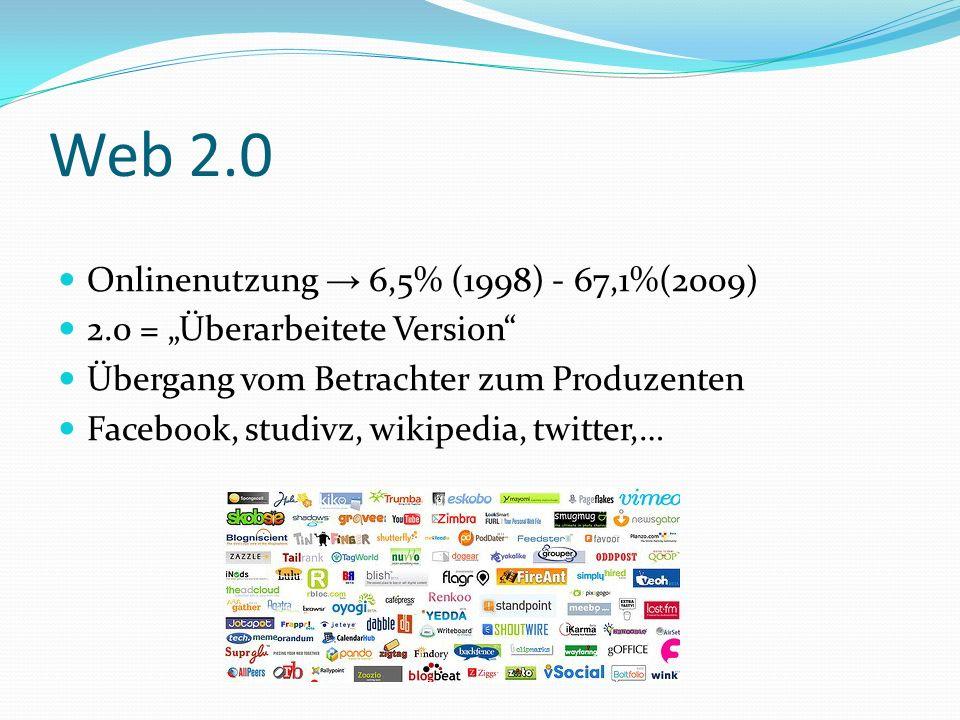 Web 2.0 Onlinenutzung → 6,5% (1998) - 67,1%(2009)