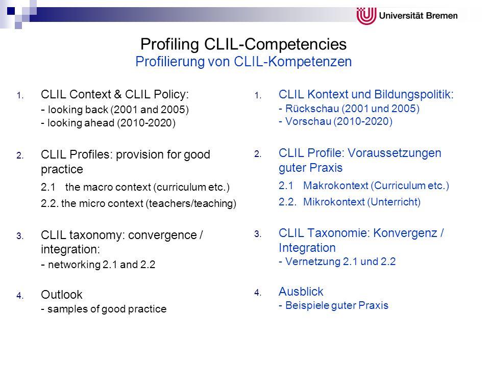Profiling CLIL-Competencies Profilierung von CLIL-Kompetenzen