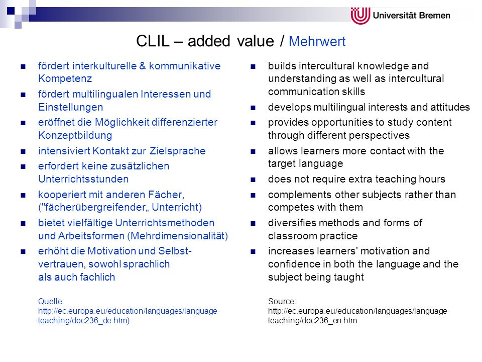CLIL – added value / Mehrwert