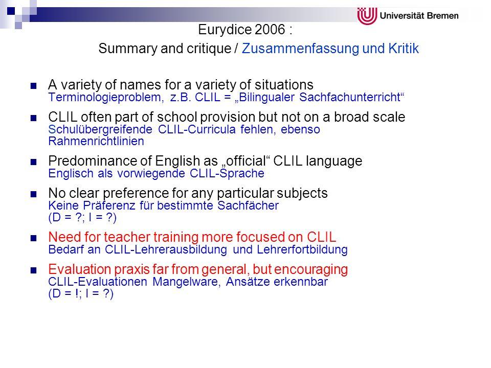 Eurydice 2006 : Summary and critique / Zusammenfassung und Kritik