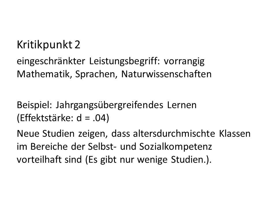 Kritikpunkt 2 eingeschränkter Leistungsbegriff: vorrangig Mathematik, Sprachen, Naturwissenschaften.