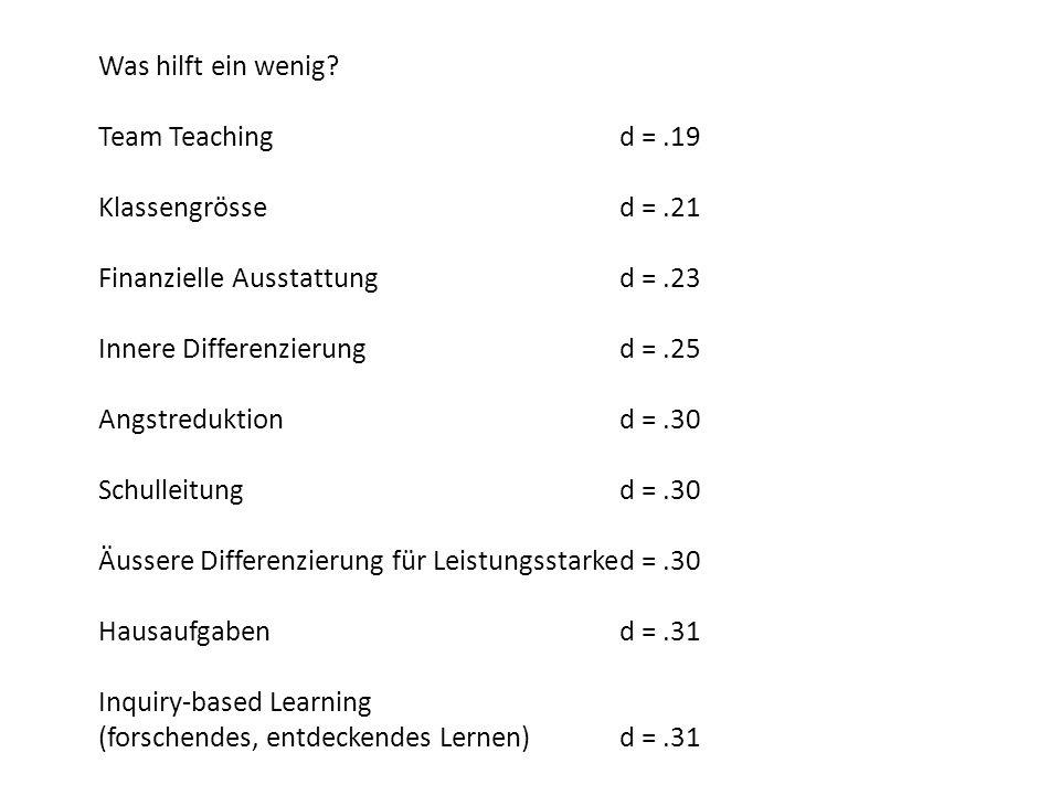 Was hilft ein wenig Team Teaching d = .19. Klassengrösse d = .21. Finanzielle Ausstattung d = .23.