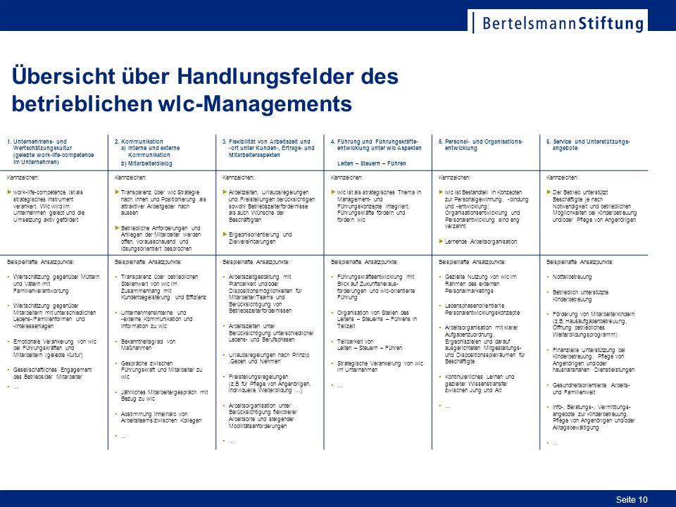 Übersicht über Handlungsfelder des betrieblichen wlc-Managements