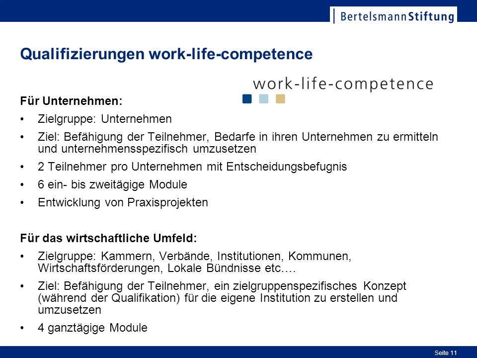 Qualifizierungen work-life-competence